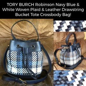 TORY BURCH Robinson Plaid Bucket Crossbody Bag!